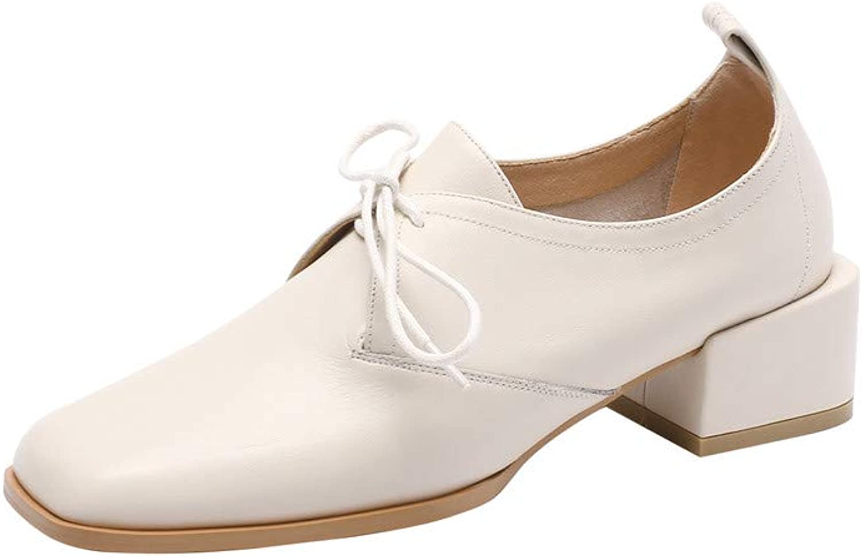 Nio Nio Nio sju äkta läder, damernas retro Square Toe Low Chunky Heel Söt handgjord, handfast, damklädpumpar  preferentiell