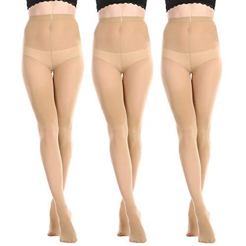 MANZI 3 Paar Frauen Mädchen Basic Cabrio Ballett Tanz Strumpfhosen mit variablem Fuß,Kinder,Erwachsene 40 den, Beige, Medium(Age 7-10)