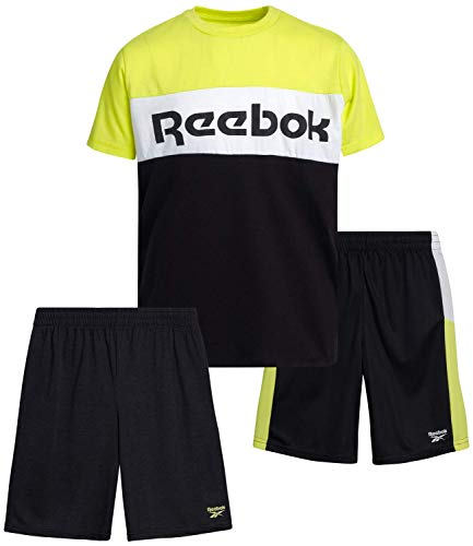 Reebok Boys 3-Piece Athletic Sports Performance Quick Dry Short Set with T-Shirt and Shorts, Size 5, White/Grey/Black