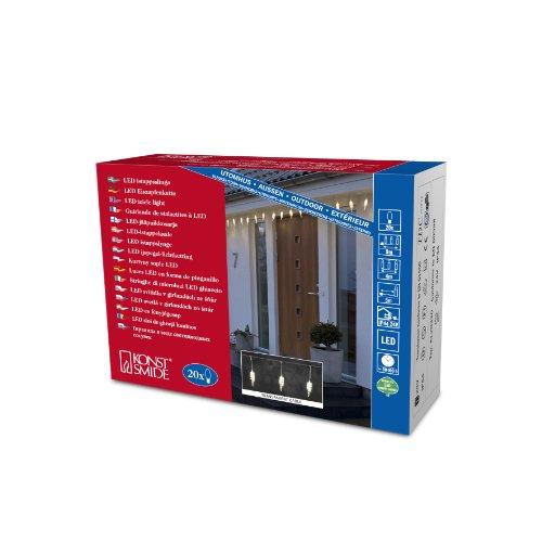 Konstsmide 2739-103 LED Eisregen Lichtervorhang mit 20 Zapfen / für Außen (IP44) / 24V Außentrafo / 20 warm weiße Dioden / transparentes Kabel