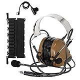 TAC-SKY COMTA III - Auriculares tácticos electrónicos con orejeras de silicona y micrófono, ideales para deportes y caza, Airsoft al aire libre, color marrón