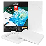 Arteza Acrylic Art Paper Foldable Canvas Pad, Folded Size 7x8.6 Inches, 20 Sheets, DIY Frame, Heavyweight Paper, 220 lb, 360 GSM, Acid-Free, Art Supplies for Painting & Mixed Media Art