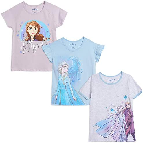 Disney Frozen Elsa Anna Toddler Girls 3 Pack T Shirt Purple Blue White 3T product image