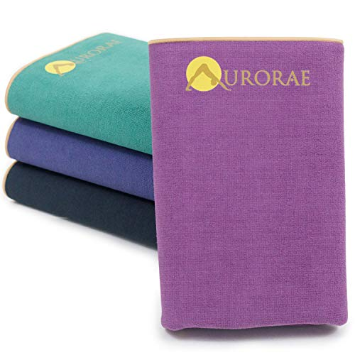 Aurorae Synergy Foldable On-the-Go Travel Yoga Mat; A Yoga Mat for Yogis on the Move with Integrated Microfiber Towel and Anti-Slip Patented Synergy 2-in-1 Technology for Hot Yoga No Odor and No Bunching
