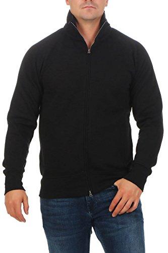 Happy Clothing Herren Sweatjacke ohne Kapuze Zip-Jacke Reißverschluss mit Kragen, Größe:XL, Farbe:Schwarz