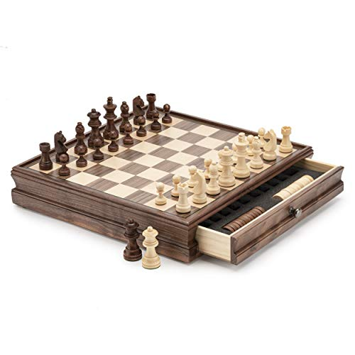 A&A 15' WOODEN CHESS & CHECKERS / Storage Drawer / 3' King Height German Knight Staunton Chess Pieces / Walnut Box w/Walnut & Maple Inlay / 2 Extra Queen / Classic 2 in 1 Board Games