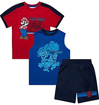 Super Mario Brothers Mario Kart Shirt Tank Top & Shorts 3 Piece Set Summer Active-wear Bundle Clothes for Boys - Red/Size  2T