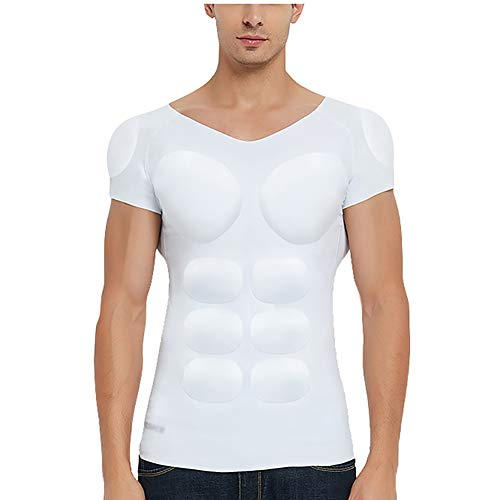 Hombres Muscle Enhancer Hombros Acolchados Músculos Abdominales Ropa Interior Invisible Fajas corporales Ocasiones Especiales,White,XL