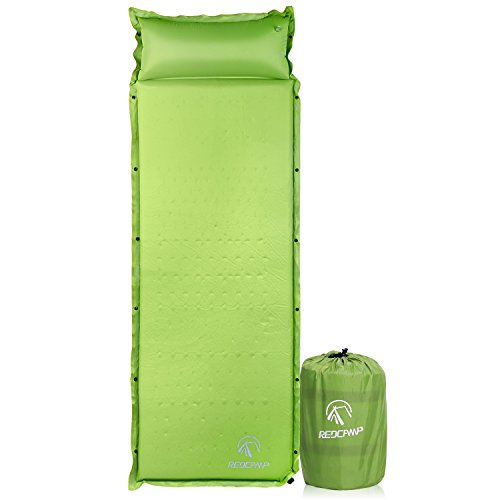REDCAMP Self-Inflating Sleeping Pad with Attached Pillow, Compact Lightweight Camping Air Mattress with Quick Flow Value, Green 77'x26'x1.2'