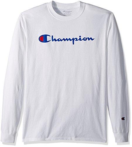 Champion Men's Classic Jersey Long Sleeve Script T-Shirt, White, Med