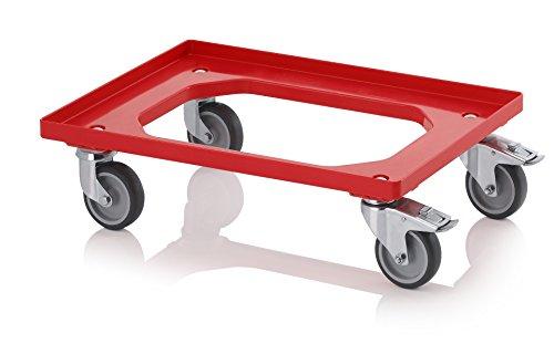 Transportroller rot mit Feststellbremse/Gummrädern für 60x40 Eurobehälter inkl. gratis Zollstock