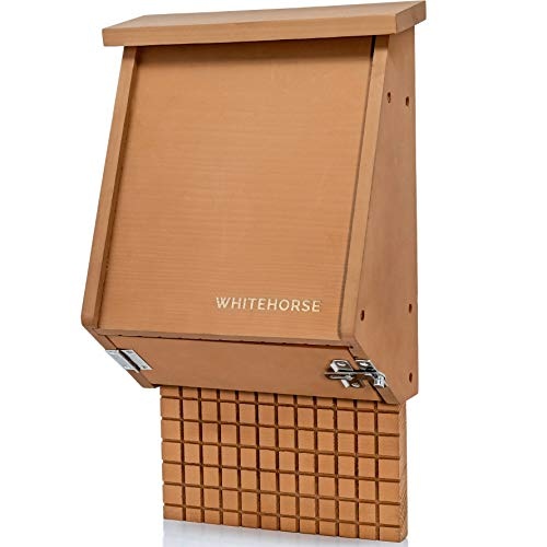 WHITEHORSE 4-Chamber Bat House - A Premium Cedar Bat Box That is Built to Last - Enjoy a Healthier Yard with Fewer Mosquitos While Supporting Bats (Brown)