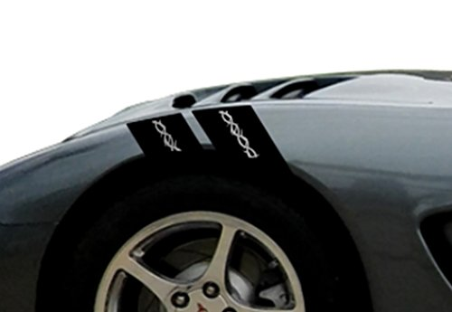 BARB WIRE Fender Hash Mark Bars Vinyl Racing Stripes Graphic Decals 4' (Fits Chevy Corvette C5)Driver Side - Red