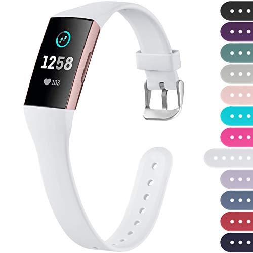 Ouwegaga Kompatibel mit Fitbit Charge 4 Armband/Fitbit Charge 3 Armband, Weiches Band Ersatz Sport Armband für Damen Herren, Klein Weiß