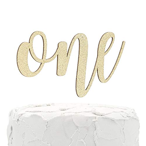 NANASUKO 1st Birthday Cake Topper - one - Double Sided Gold Glitter - Premium Quality Made in USA