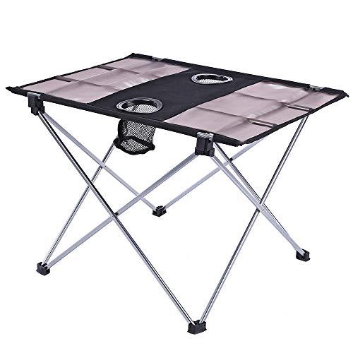 ZFLL klaptafel en stoelen voor picknick, opvouwbaar, draagbaar, met flessenhouder voor vissen, picknick, camping, vissen, van Oxford-stof
