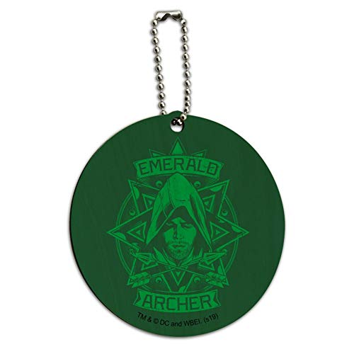 Arrow TV Series Emerald Archer Round Wood Luggage Card Suitcase Carry-On ID Tag