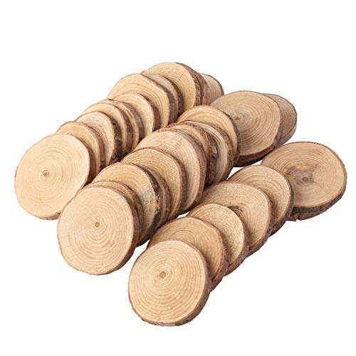 Pixnor Holzscheiben 30st 4-5 CM Holz Log Scheiben Scheiben für DIY Handwerk Hochzeit Mittelstücke