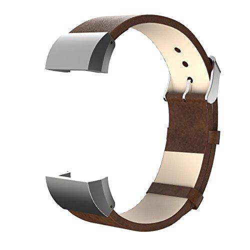 Para Fitbit Charge 2piel banda, angolf Fitbit Smart reloj con pulsera de piel ajustable Bandas de repuesto con adaptador de conectores de metal pulsera hebilla para Fitbit Charge 2Fitness accesorios