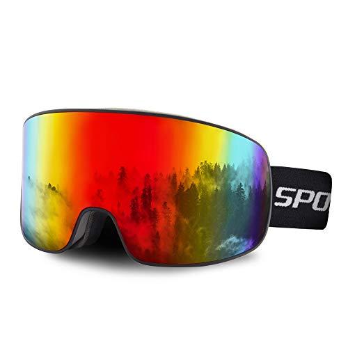 OULIQI Gafas de esquí, Antivaho, Lentes Dobles protección UV, Gafas Esquí Snowboard para Mujer Hombres,Gafas a Prueba de Viento para Deportes de Invierno, esquí, Patinaje, portadores de Gafas (Rojo)