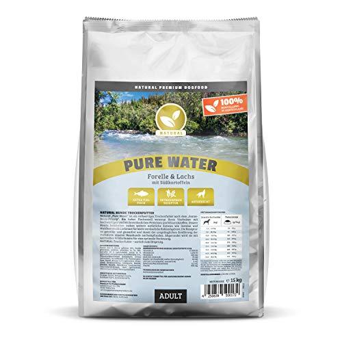 Natural | Pure Water | 15 kg | Forelle + Lachs + Süßkartoffel | getreidefreies Hundefutter | Trockenfutter für alle Hunderassen | viel frischer Fisch | artgerecht & besonders gut verträglich