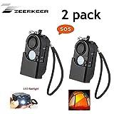 ZEERKEER 2 Unidades 120 dB Sirena Bolso Alarma Alarma Personal con luz LED de Alarma con Linterna para Mujeres, niños, Personas Mayores