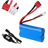 Sirecal 2S Lipo Battery 7.4V 2000mAh Batteria 20C T Plug Connector with USB Battery Charger for RC Car Off Road Truck
