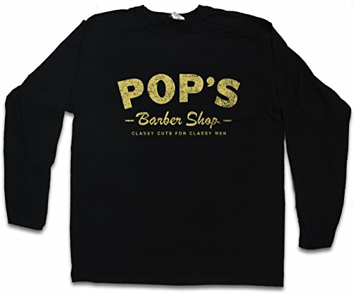 Urban Backwoods Pop'S Barber Shop Long Sleeve T-Shirt De Manga Larga Negro Talla M
