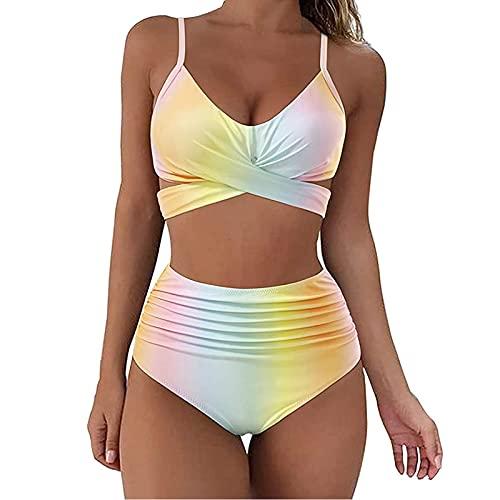 Damen Bikini Set Push Up Crossover Badeanzug Set High Waist Lace Up Bademode Blumenmuster Wickel Bikinihose Tiefer V Ausschnitt Sportlich Zweiteiliger Strandbikini