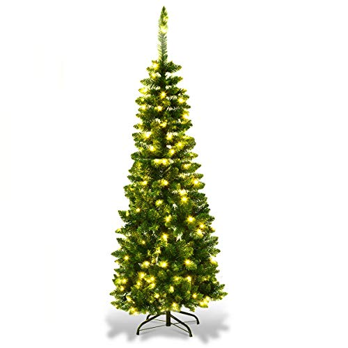 Goplus Prelit Pencil Christmas Tree, 4.5FT Premium Hinged Fir Tree, with LED Lights and Solid Metal Stand, Easy Assemble, Ideal Artificial Xmas Tree for Home and Office, Warm White LED