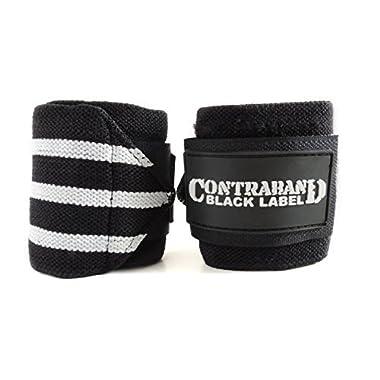 Contraband Black Label 1001 Wrist Wraps in Light/Medium/Heavy/EXTREME Strength (18in Standard Length, 3-Stripe Medium (BLACK/WHITE))