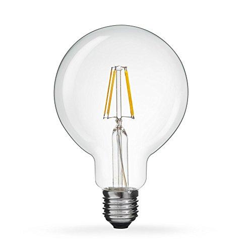 Tengyuan LED ボール電球 LED電球 60W形 エジソン電球 E26口金 フィラメント G95 電球色 2700k 650lm レトロ電球 6W クリアランプ 360度発光 (1個入り)