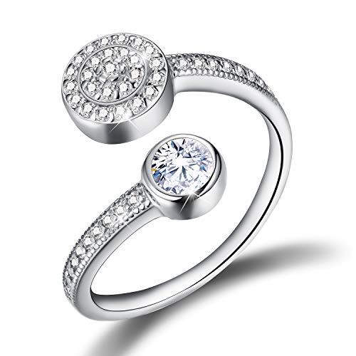 Esberry ✦Regalos para Navidad✦Anillo de plata de ley 925 chapado en oro de 18 quilates con circonita cúbica, anillo ajustable para mujeres y niñas. plateado