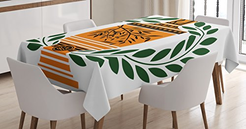 Ambesonne Retro Tablecloth, Old Antique Greek Vase with Olive Branch Motif and Laurel Wreath, Dining Room Kitchen Rectangular Table Cover, 52