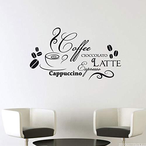Baobaoshop Gerichte Vinyl Aufkleber Zitat Schokolade Latte Cappuccino Italienische Mode Restaurant Dekorieren wasserdichte Wandbild 73 * 42 cm