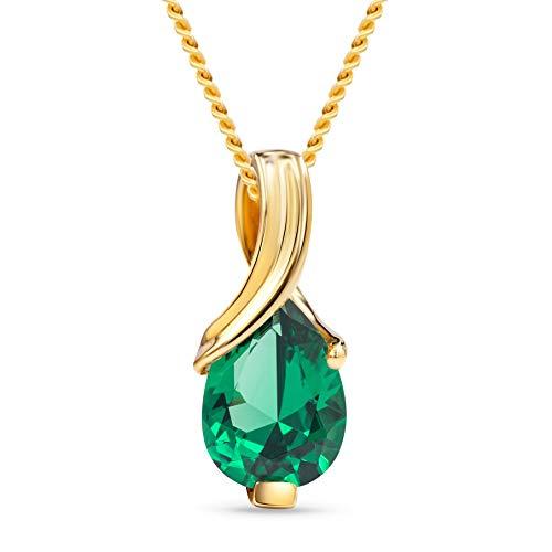 MIORE Mujer oro 14 quilates (585) oro amarillo pera Green esmeralda sintética