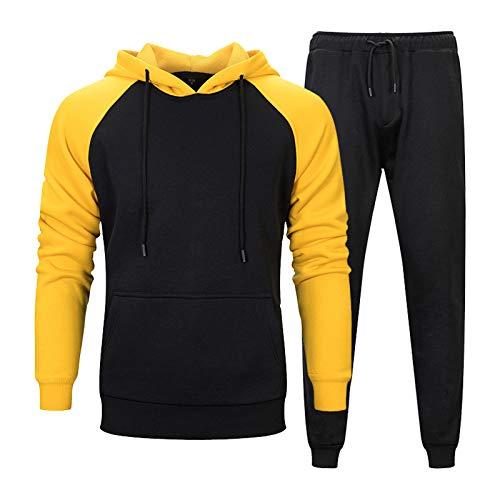 Chándal para hombre, de algodón, para el tiempo libre, chándal para casa, para hombre, color de contraste, chándal deportivo + sudadera con capucha Negro XXL