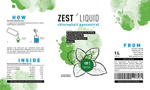 Liquid Chlorophyll aus Alfalfa mit Minzgeschmack- hochdosierter Monatsvorrat -1000ml – Basisch – Flüssiges Chlorophyll – Konzentrat – Made in Germany - 2