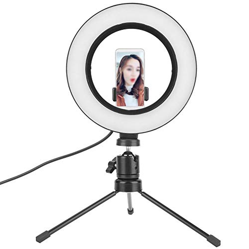 Camera Invullicht, 6inch Fotografie LED Video Live Studio Dimbaar Ringlicht Foto Selfie Videolicht, geen ultraviolette en infrarode straling, een sferisch platform