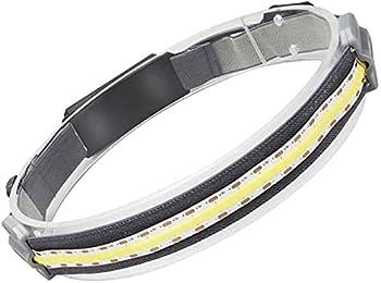 Hi-Beam Work Light Headband Rechargeable, Broad Beam Waterproof COB LED Light, Ultra-Low Profile Adjustable Elastic Strap for Camping Fishing Hiking Climbing Running