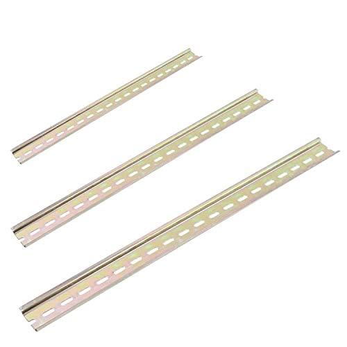 SJUNJIE 3 Stück DIN-Schiene Farbe Stahl Hutschiene Gelocht Montageschiene Tragschiene profilschine für Verteilerschrank Schaltschrank einbau(Golden Farbton)