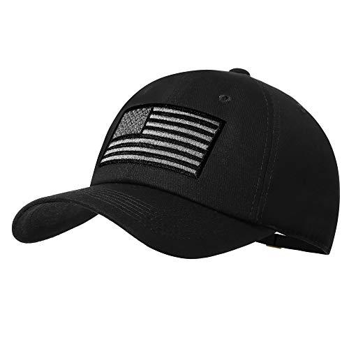 American Flag Hat Men Women Adjustable USA Baseball Cap Low Profile Plain Dad Hat Outdoor Ball Cap Black