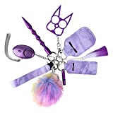 Keychain for Women Car Keychain for Women Portable Keychain Set with Personal Alarm Whistle Pom Pom Wrist Strap Tassel