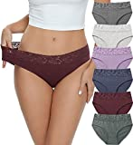 Cotton Hipster Panties for Women Lace Hiphugger Panties Bikini Underwear Pack (3020M,Solid LP)