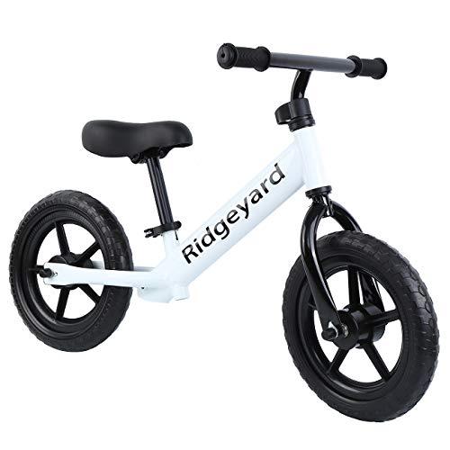 MuGuang Bicicleta Sin Pedales para Niños 12 Pulgadas, Manillar Ajustable y Altura del Asiento sin Pedal Bicicleta de Equilibrio para Caminar para Niños de 2 a 5 Años(Blanco)