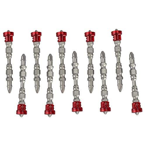10 piezas de puntas de destornillador magnético de doble cabeza accesorios de destornillador electrónico cruzado (plata)