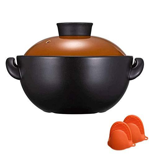 MotBach Pote Saludable cocinando pote cazuelas doméstico cerámico cerámica Arcilla arroz cazuela guisada cazuela de Carne para el gasto de Gas SOJADO Fry FRATE LA POTA DE Clay (Size : 2.2L)