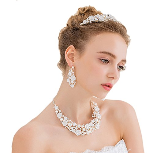 Miya Mega lusso gioielli set collana di perle e orecchini con super brillante cristallo fiori in mezzo, sposa gioielli matrimonio sera eventi party Jugend Weihe, Perle Cristallo Gioielli Set