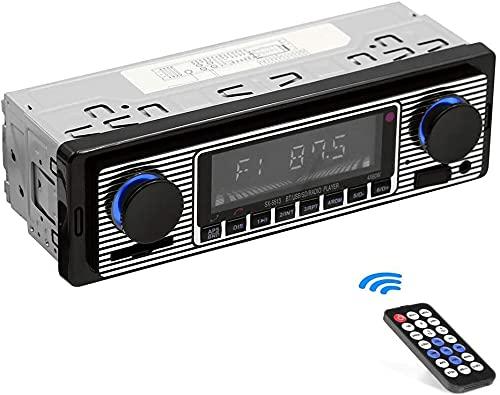 Radio Para Coche, Bluetooth Radio Coche Manos Libres, 2 Perilla Single Din 60wx4 Fm Manos Libres Radio Para Automóvil Oldtimer Mp3 Aux Usb U-disk Audio Con Control Remoto