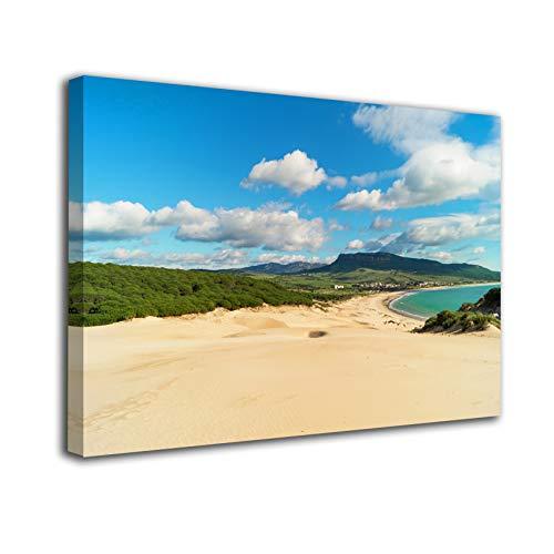 Desconocido Cuadro Lienzo Canvas Duna de Bolonia en Tarifa Cadiz Playa Andalucia – Varias Medidas - Lienzo de Tela Bastidor de Madera de 3 cm - Impresion en Alta resolucion (50, 33)